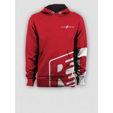 Sweat rouge et logo blanc